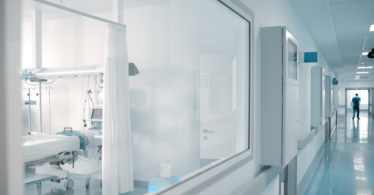 Window into a patient room in a clean hospital