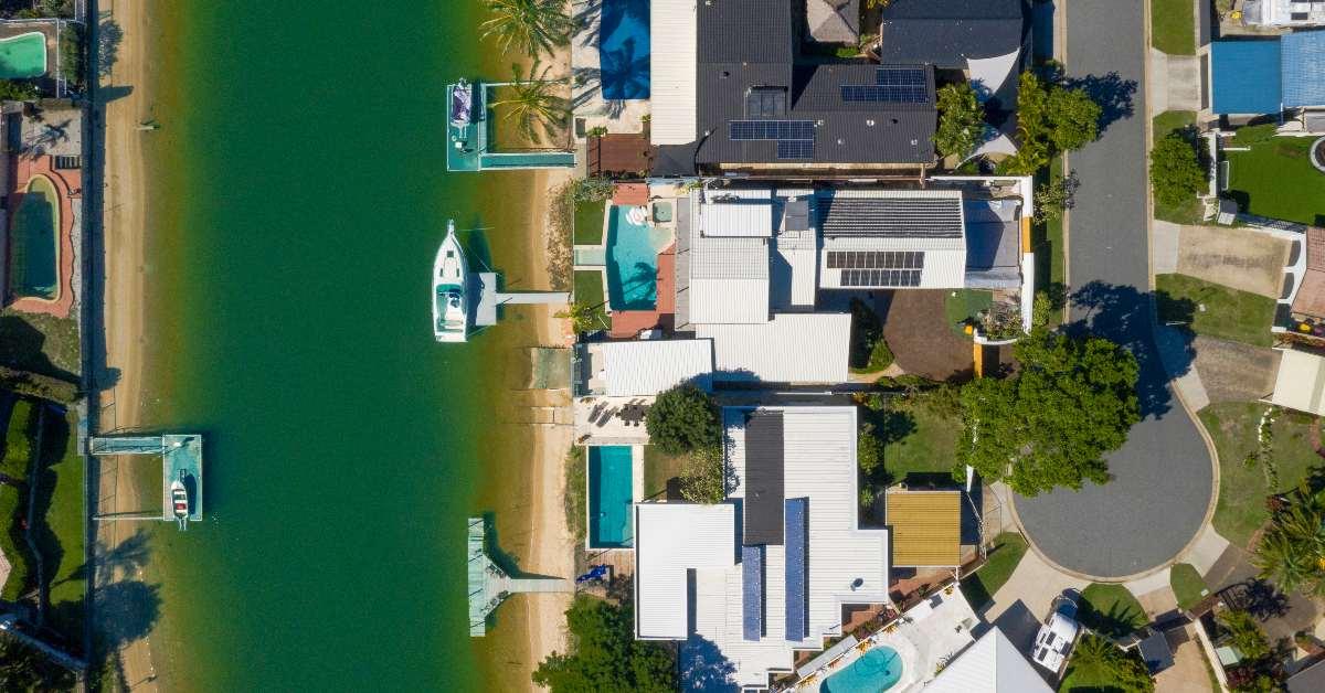 Aerial shot of Gold Coast suburbs