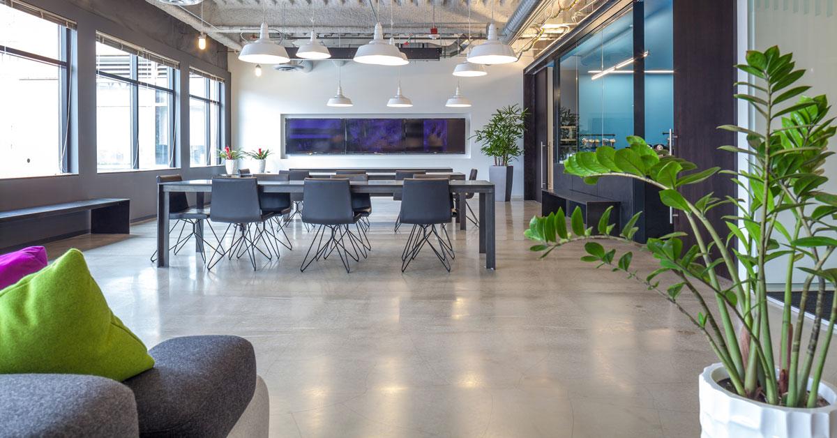 open office plan, colourful office, polytron