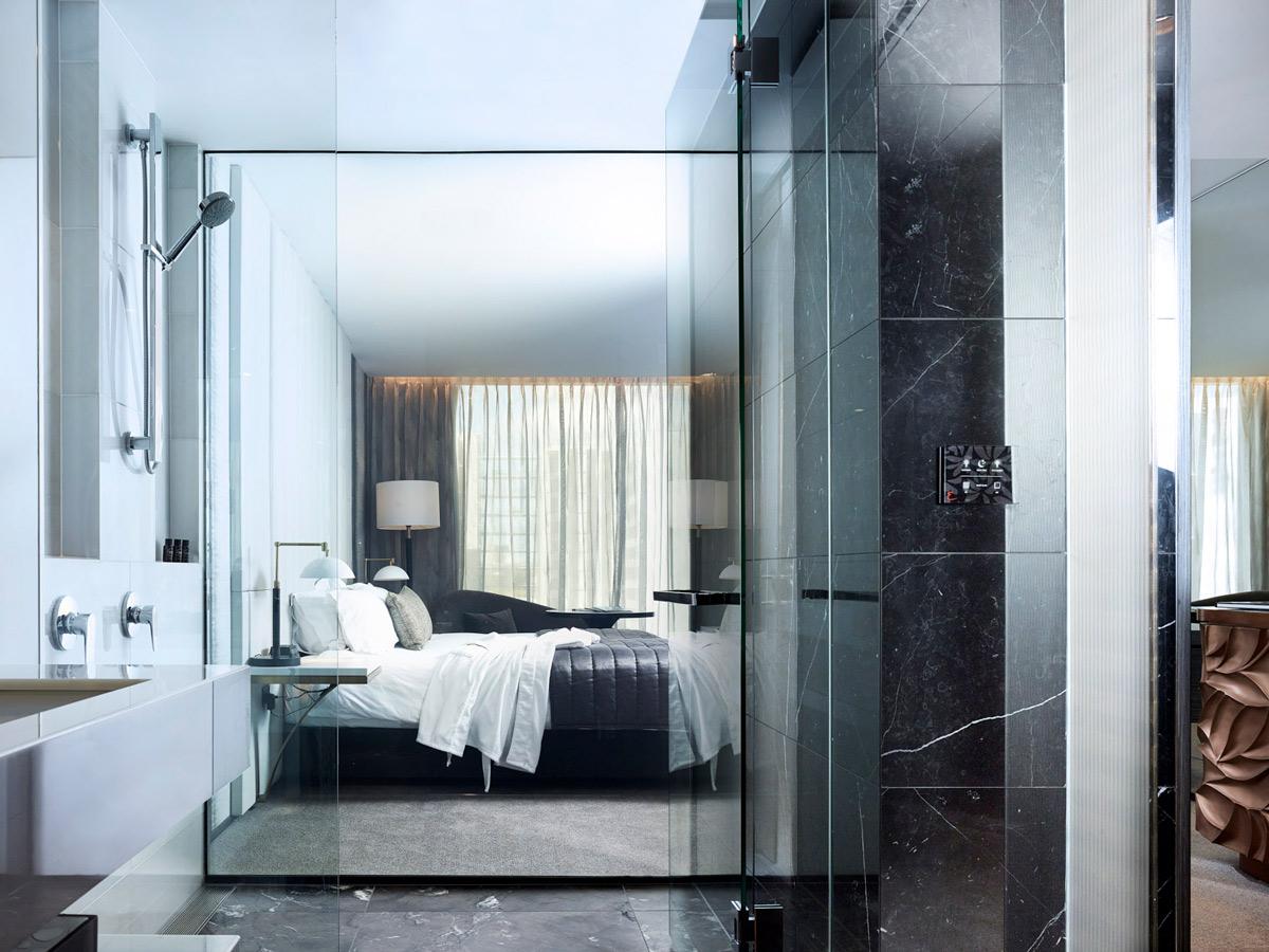 switchable glass bathroom, switchable glass hotel, smart privacy glass, switchable privacy glass, smart glass